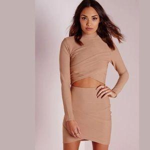 MISSGUIDED Bandage Asymmetric Mini Skirt Sz 6 US